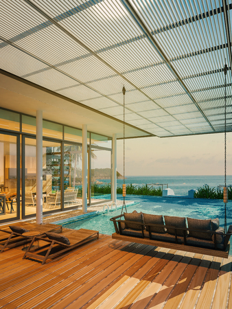 Beautiful Beach house,Pool villa on sea view - 3d rendering