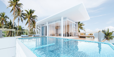 Beautiful view of Swimming Pool with  the sea at sunlight  - 3d rendering 스톡 콘텐츠