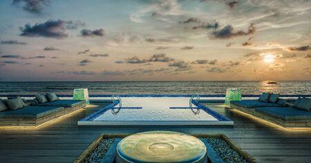 Sea view swimming pool in modern loft design,Luxury ocean Beach house,sunset  concept,3d rendering 스톡 콘텐츠