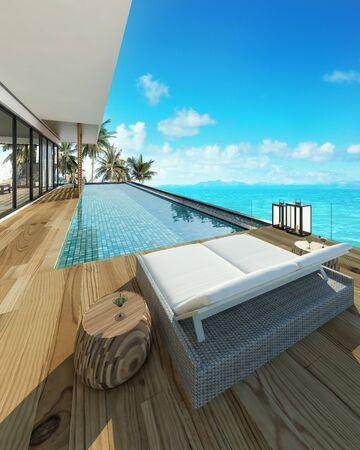 Sea view swimming pool in modern loft design,Luxury ocean Beach house, 3d rendering 스톡 콘텐츠