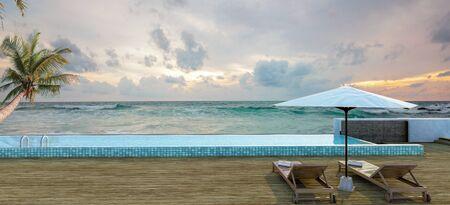 Sea view swimming pool in modern loft design,Luxury ocean Beach lounge  concept,3d rendering 스톡 콘텐츠