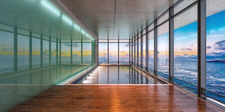 Sea view indoor swimming pool of a modern house at sunset,3d rendering