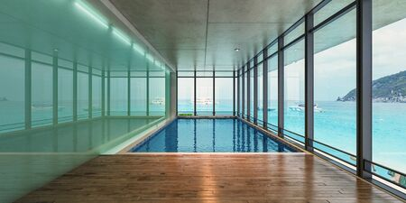 Sea view indoor swimming pool of a modern house at sunlight,3d rendering