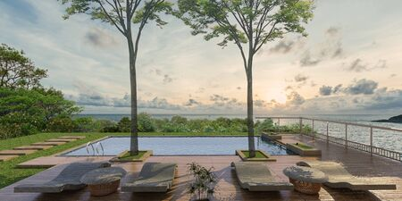Sea view swimming pool in modern loft design,Luxury ocean Beach house, sunset,3d rendering