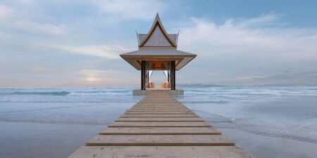 Pavilion with sea view 3d render, thai style 스톡 콘텐츠