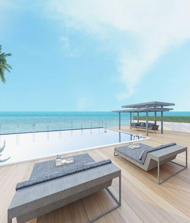 Hermosa vista de la piscina con el mar en la luz del sol - representación 3d
