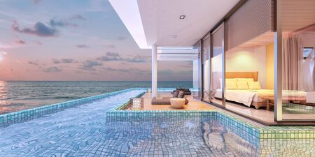 Beautiful view of Swimming Pool with  the sea at sunset  - 3d rendering
