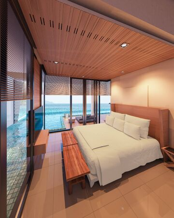 Beautiful view Bedroom with  the sea at sunlight  - 3d rendering