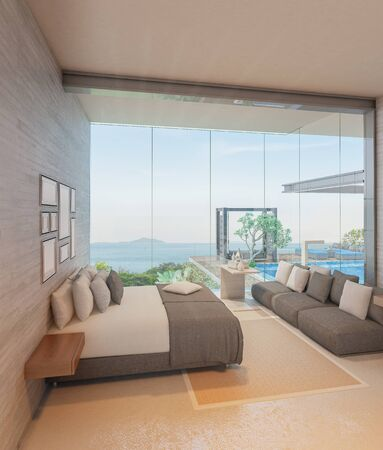 Modern loft bedroom and swimming pool in house or resort with sea view.3d render