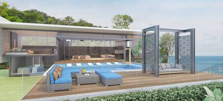 House Pool Villa Modern with swimming pool, White and blue tone furniture, Beach chairs with sea view -3D render Foto de archivo