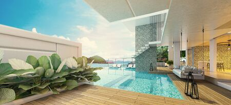 Modern beautiful house with a swimming pool, sea view, blue and white concept,3d render