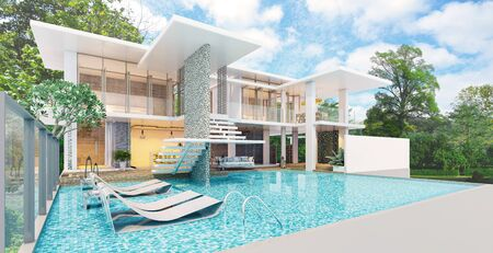 Modern beautiful house with a swimming pool, sea view, blue and white concept,3d render 版權商用圖片