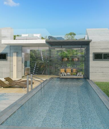 Swimming pool overlooking view sea and clear sky ,beach house,background,summer holiday,3d render