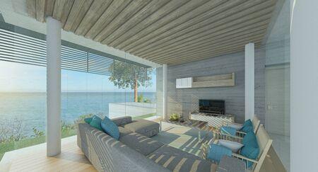 Modern living room with pool and sea views, big window ,3d render 版權商用圖片