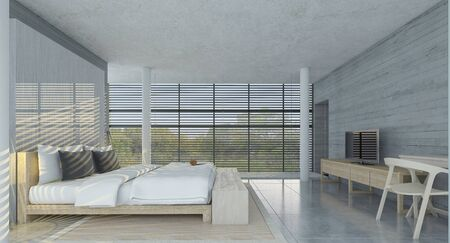 Side view of modern bedroom with concrete walls,  comfortable king size bed and TV set on the wall ,3d render 版權商用圖片