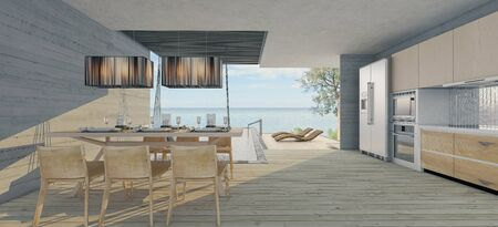 Luxury  dining room with sea view  ,There is a large open sliding door overlooking the sea view.3d render 版權商用圖片