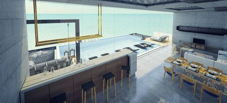 Modern beautiful house Living room, dining room and bar  with a swimming pool, sea view, blue and white concept,3d render