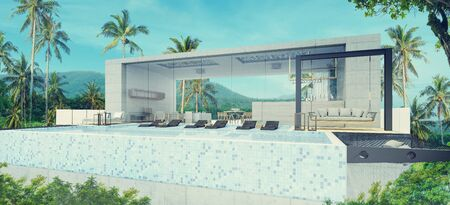 Modern beautiful house with a swimming pool, blue and white concept,3d render
