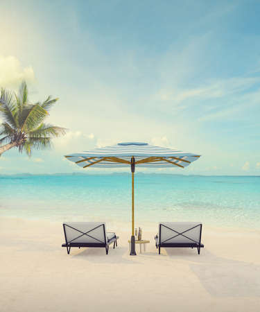 Beautiful tropical sunset scenery, two sun beds, White sand, sea view with horizon, colorful twilight sky, calmness and relaxation. Inspirational beach resort hotel landscapet,Vintage tone concept ,3d rendering