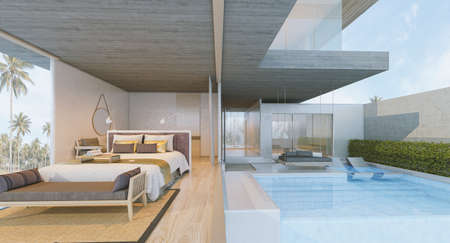 Modern Loft interior of Bedroom ,swimming pool,3d rendering