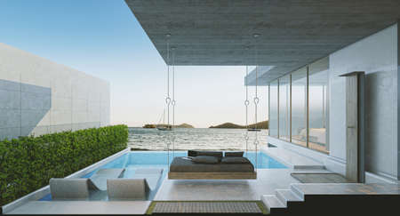 luxury modern backyard with a swimming pool sea view, 3d rendering 版權商用圖片