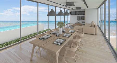 Sea view swimming pool in modern loft design,Luxury ocean Beach house, 3d rendering 版權商用圖片