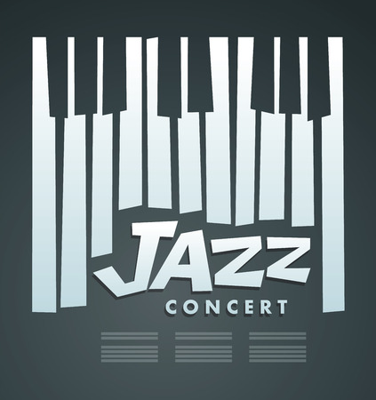 Jazz music concert & Festival, poster background template. Music piano Ilustracja