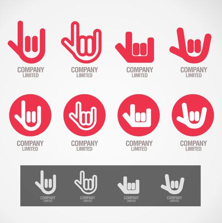 """manos logo: Dise�o del s�mbolo """"Rock mano y Amor mano"""" concepto Vectores"""