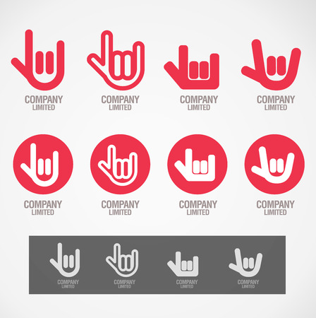 Symbol design Rock hand and Love hand concept Çizim