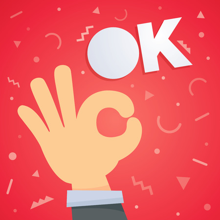 Ok hand vector illustration