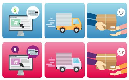On-line Shopping process. Flat design concept. Vector illustration Ilustracja