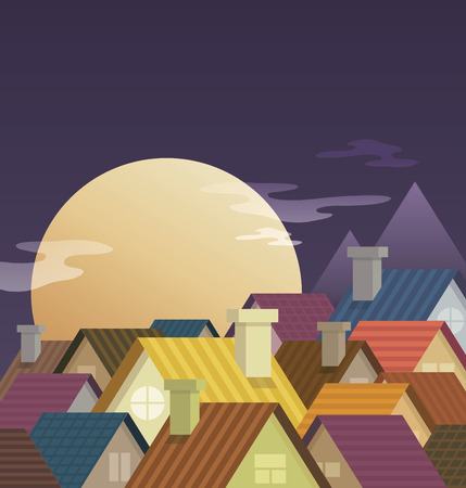 violet residential: Small town urban landscape in flat design style, vector illustration. Moon and Night.