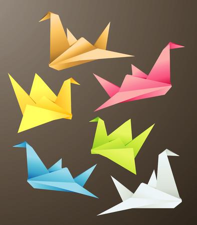 Bird Origami objects, vector illustration