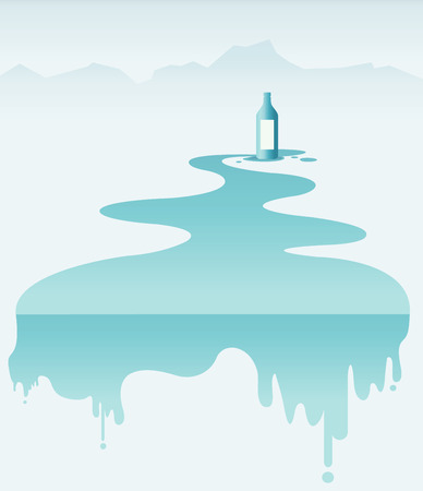 waterfall river: Pure Natural Water Drink, Vector illustration