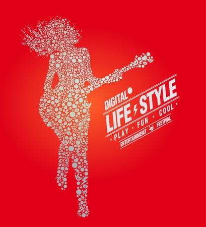 Music Lifestyle, digital, play, vector illustration
