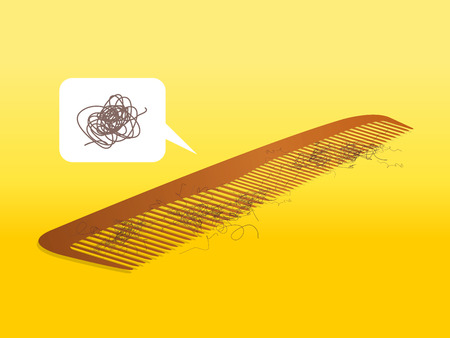 comb: Comb with hair, confused, headache, vector illustration Illustration