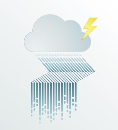 dark cloud: Rain ilustraci�n inundaci�n gr�fico vectorial con la nube oscura en d�a h�medo, estilo minimalista