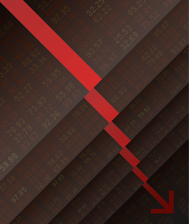 stock market crash: Stock Market crash down, fall, stair, marketing, business, financial and currency, vector illustration