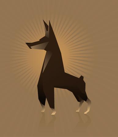 Dog Doberman vector illustration flat style Vector