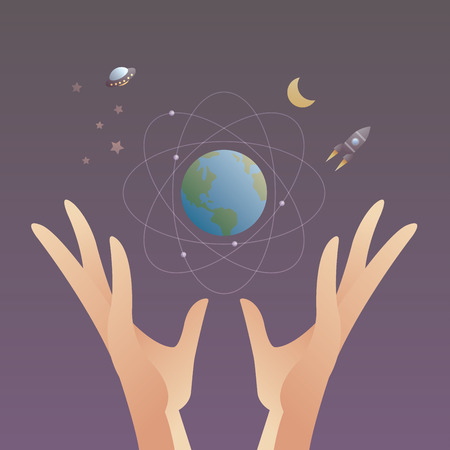 Hands is holding Earth and Space Science Astrology World Vector illustration Ilustracja