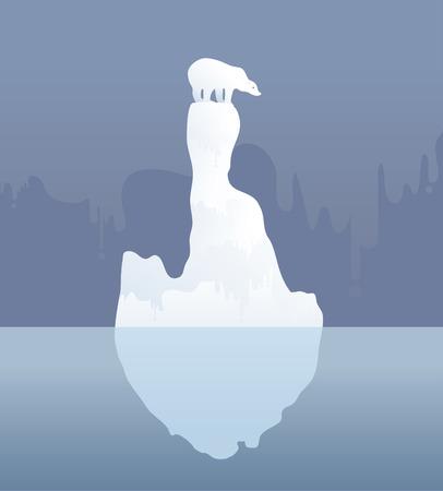 Ijsbeer op een ijsschots. Mogelijk gevolg van de klimaatverandering Vector illustratie Stock Illustratie