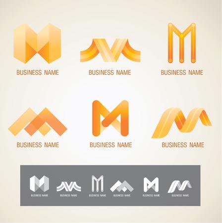 로고와 심볼 디자인 M 개념 일러스트
