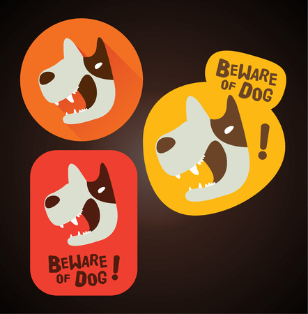beware dog: Beware of dog sign beware of dog design beware of dog label Sticker Illustration