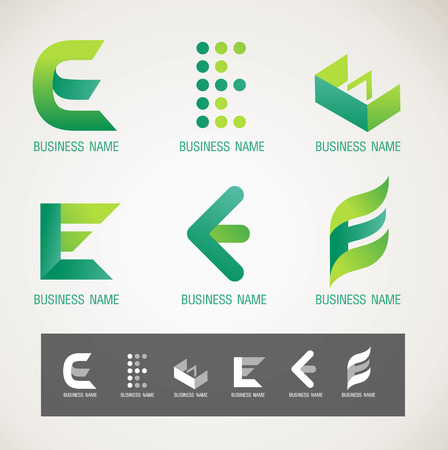 commerce and industry: Logo and Symbol design E concept Illustration