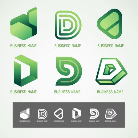 Logo and Symbol design D concept, modern minimal, vector illustration