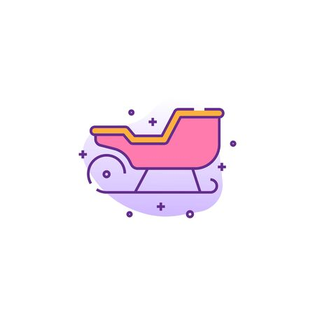santa sleigh creative icon on white background. Flat multicolored illustration. Christmas icons collection.