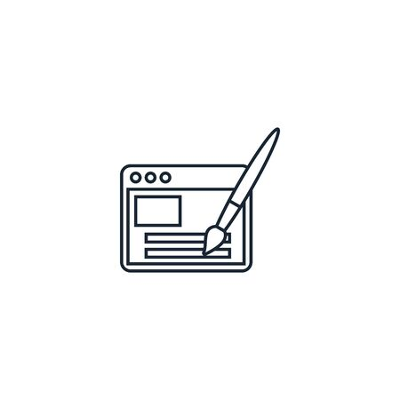Webdesign creative icon. line multicolored illustration. From SEO icons collection. Isolated Webdesign sign on white background Illustration