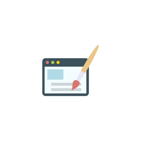 Webdesign creative icon. flat multicolored illustration. From SEO icons collection. Isolated Webdesign sign on white background