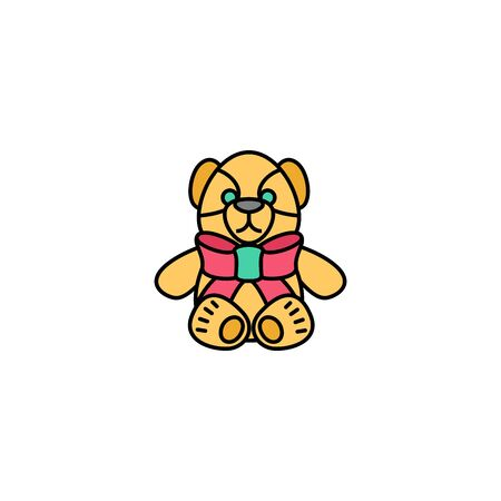 teddy bear creative icon. Multicolor line illustration. From Christmas icons collection. Isolated teddy bear sign on white background