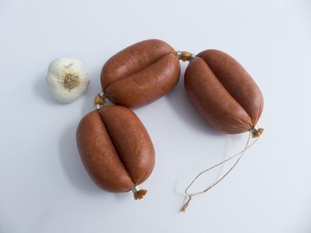 kangal: Turkish garlic sausage  Sucuk Cut  Stock Photo